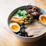 Kyushu Tonkotsu with rich soy broth, pork belly, pickled vegetables & egg