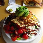 "Does this BBQ Chicken Salad look like a half-salad to you? The ""rose"" on top is an avocado!"