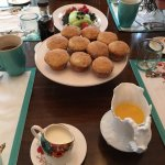 First course of our gourmet breakfast, fresh fruit and breakfast muffins