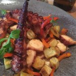 grilled octopus with potatoes and peppers