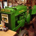 tractor in the dining room across from our table.