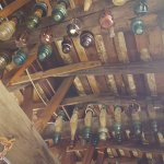 interesting display of insulators hanging from the ceiling