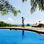 Relax with view of the North Bali coast, all the way to the volcanoes of Java