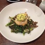 Fish on a bed of quinwah and greens with nettle broth