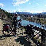 E-cycling from Wanaka to Luggate alongside the Clutha River.