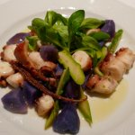Octopus salad with potatoes and asparagus