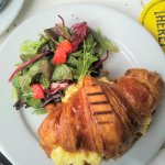 Croissant eggs & avocado with side salad