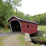 The covered bridge at entrance October 2015.