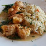 Shrimp Florentine with spinach and herb rice