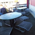 Outdoor seating is shaded in the afternoon