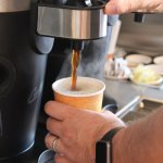 Freshly brewed drip coffee is always available at the self-serve coffee bar.