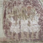 Painting of Shadrach, Mechach, Abendigo, and angel in fiery furnace