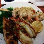 Salmon, lobster, shrimp