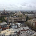 A partial view from our room on the 20 floor over looking Melbourne to the Dandenongs.