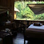 Open air bedroom with mosquito nets. Sleeping was good.