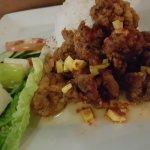 Mango thai chicken. Basically fried chicken with thai sweet chilli sauce. Average taste