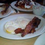 Eggs over medium, Applewood smoked bacon (yum!)