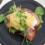 Eggs benedict with bacon, fresh spinich & watercress a winner.