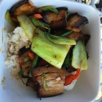 A great find - awesome lunch of pork belly, Asian greens, capsicum, rice with a delicious oyster