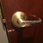 Damaged door and door handle