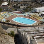 top of the hotel showing one of the three pools