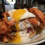 Country Fried Bacon Burger - MS beef, swiss, buttermilk fried bacon, sawmill gravy, Bob Kat Farm