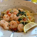 Yummy shrimp and pasta at Shanty on the Shore.