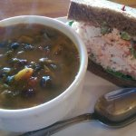 Half lobster sandwich & black bean/spinach soup. Delicious!!