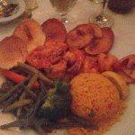Shrimp, rice, potatoes and veggies at Malaga