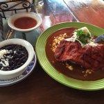 Pork mole enchiladas