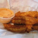 Yummy, tender chicken fingers with sriracha sauce (the sauce adds a little 'heat)
