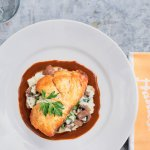 Roast grouper with spinach, mushroom and goat cheese risotto