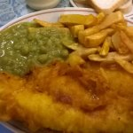 Large fish chips and peas