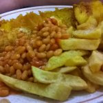 large fish chips and beans
