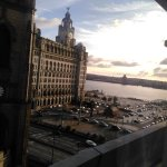 The Liver building and the mersey estuary from Room 708y