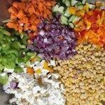 Lentil salad ingredients