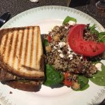 steak sandwich with quinoa salad