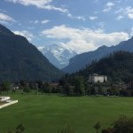 Park with Jungfrau in the distance.