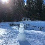 A happy snowman outside of Wawona Lodge