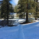 A snowman outside of the Wawona Lodge