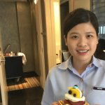 Nicole the housekeeping wiz with our F1 cupcake.