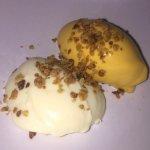 Dessert, white chocolate ice cream