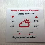Each morning, weather forecast at breakfast