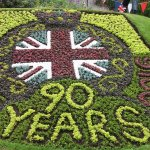 Flower Bed depicting the Queen's 90th Birthday Celebrations.