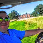 Golf Buggy on way to free driving range