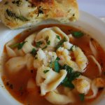 Tortellini Soup Served with Chicken Broth