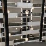Looking from the elevator across to the rooms