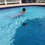 In the pool - it was non-swimmer friendly...lol
