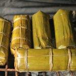 Siem Reap Homestay Grilling Sticky Rice with pork