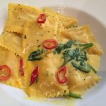 The very tasty crab & lobster tortelli with spinach and a chilli saffron sauce.